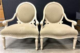 Pair Upholstered End Chairs