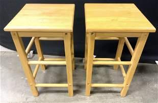Pair Wooden Stools