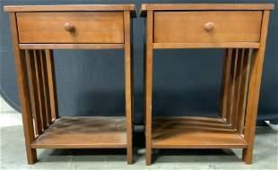 Pair Wooden Nightstands