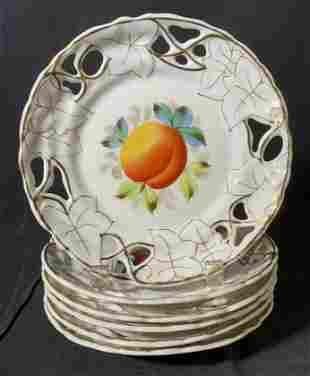 Set 6 Pierced Porcelain Plates