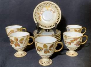 Set 11 Pierced Porcelain Teacups & Saucers