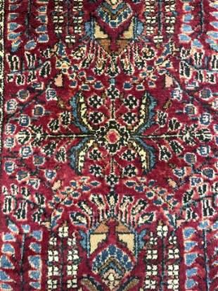 Vintage Handmade Fringed Oriental Wool Rug
