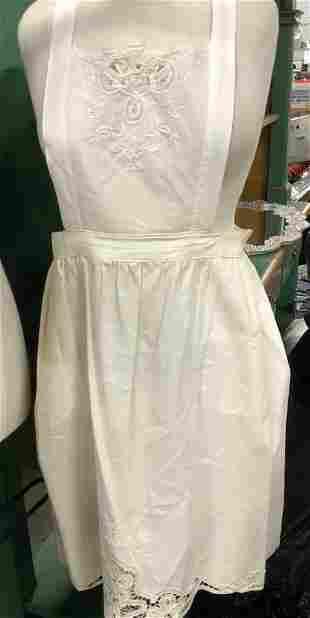 Vintage Linen and Tat Lace Apron