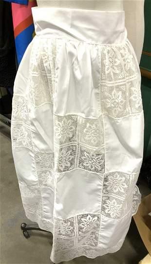 Crisp White Cotton & Tat Skirted Apron