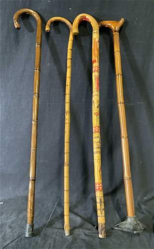 Lot of 4 Decorative Wooden Canes