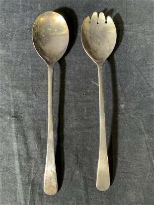 Pair SHEFFIELD Silverplated Serving Fork & Spoon