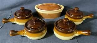 Lot 5 Ceramic Soup Pots & Baking Dish