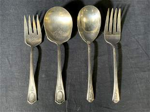 Lot 4 Silverplated Serving Forks & Spoons