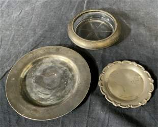 Lot of 3 Sterling Coaster and Metal Saucers