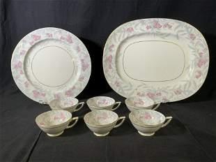 Set 8 MINTON'S Porcelain Teacups & Serving Plates