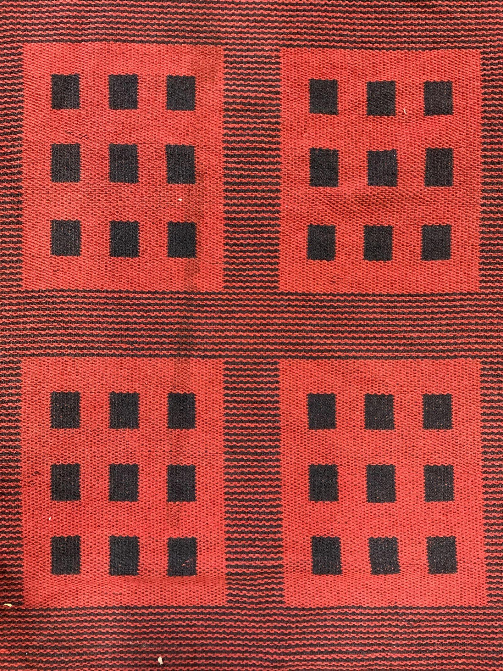 Vintage Geometrically Detailed Wool Area Rug