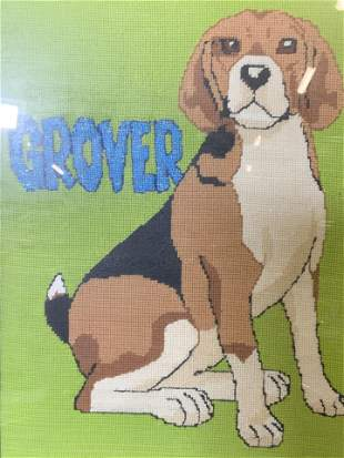 Framed Needlepoint Beagle Artwork