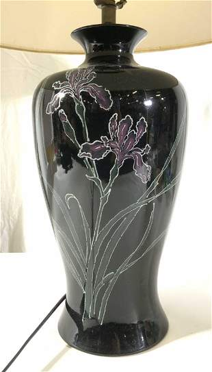 Hand Painted Black Floral Ceramic Lamp W/ Shade
