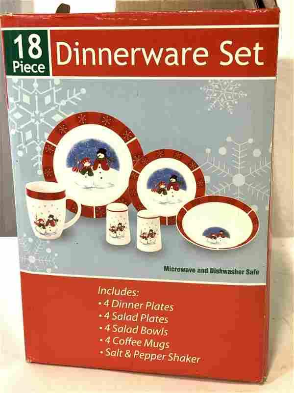 Never Used Box Snowman Ceramic Dinnerware Set 18