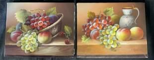 Pair Signed Fruit Still Life, Oil on Canvas