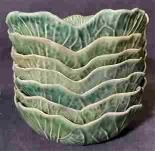 Set 7 BORDALLO PINHEIRO Majolica Bowls
