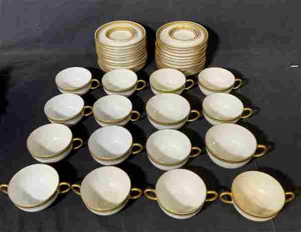 Set 40 JP LIMOGES Porcelain Teacups & Saucers