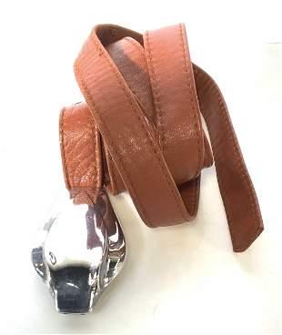 Sterling Silver Cobra Buckle Leather Belt