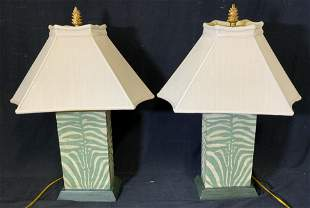 Pair Green Table Lamps