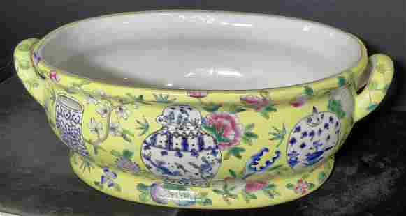 Chinese Porcelain Foot Bath Planter, Hand Painted