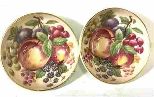 Pair Hand Painted Signed Paragon Trinket Bowls,