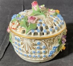 DRESDEN Porcelain Pierced Floral Relief Bowl