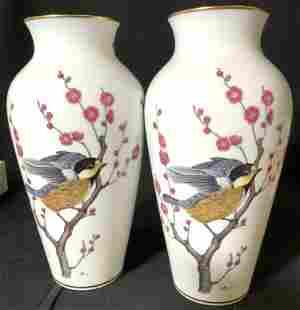 Signed Pair Franklin Porcelain Bird Vases, Japan