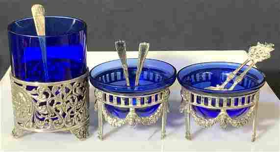 Set3 Cobalt Blue Salt Cellars with Sterling Spoons