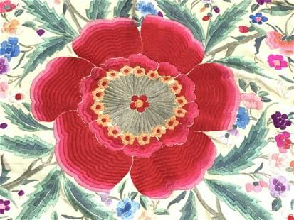 Silk Flamenco Embroidered Shawl, Spain