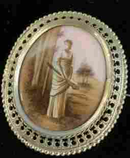 Hand Painted Porcelain Victorian Brooch, Jewelry
