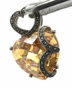 Imperial Topaz Faceted Crystal In Sterling Silver