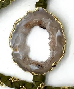 Handmade Nina Neuyen Druzy Quartz Pendant Necklace