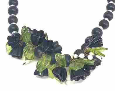 Vntg Matte Black Floral Beaded Necklace, Jewelry