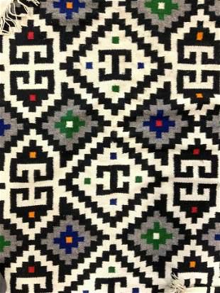 Handmade Wool Geometrically Detailed Rug