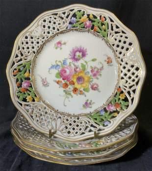 Set 4 DRESDEN GERMANY Porcelain Plates