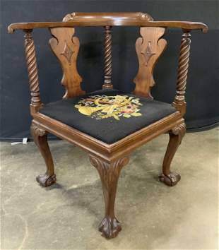 Vintage Chippendale Style Corner Chair
