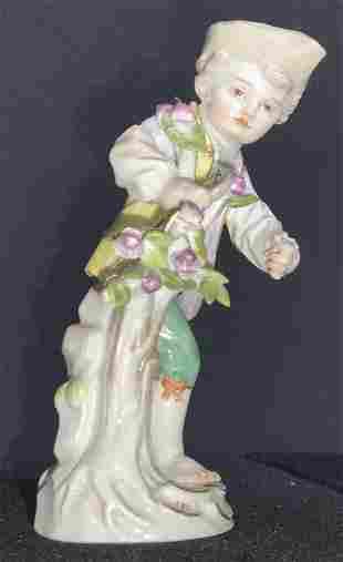 MEISSEN Signed Porcelain Boy W/ Flowers Figural