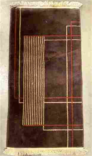 Vintage Handmade Fringed Wool Pile Rug