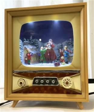 Miniature Mid Century TV Set Style Santa Holiday