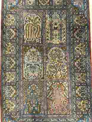 Vintage Handmade Oriental Fringed Wool Rug