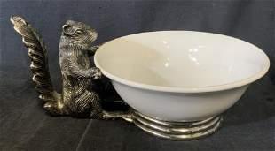Metal Decorative Squirrel Serving Bowl