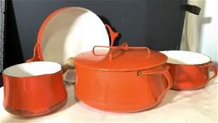 Red DANSK Vintage Enamel Cooking Set, 4 DEN