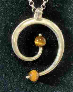 Sterling Silver Chain Pendant w Tigers Eye, Italy