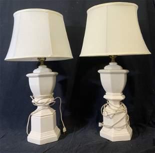 Pair Ceramic White Table Lamps