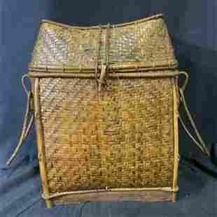 Lidded Wicker Basket with Handles