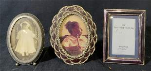 Lot of 3 Metal Tabletop Picture Frames