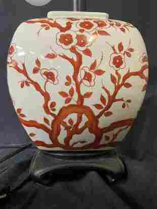 Floral Pattern Ceramic Lamp
