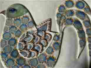 Signed Decorative Ceramic Bird Tile
