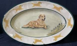 ZUPPA STUDIES Signed Golden Retriever Platter