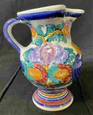 Hand Painted Ceramic Floral Pitcher, Greece